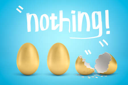 3d rendering of two whole golden eggs and one broken golden egg with Nothing title above them on light blue gradient background.