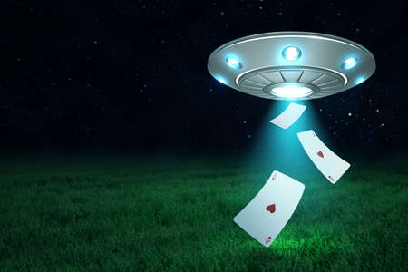3d rendering of silver metal UFO with playing ace heart cards on dark night sky and green grass background