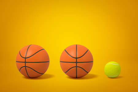 3d rendering of two basketballs and one tennis ball in row on amber background.