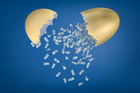 3d rendering of money dollars falling out of broken golden egg on blue background Banco de Imagens