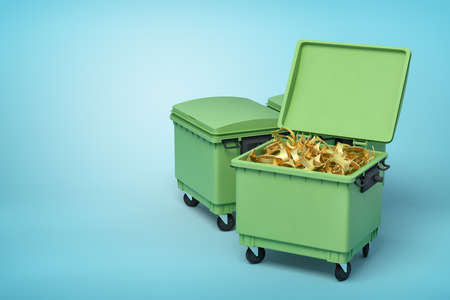 3d rendering of green trash bins with golden crowns inside on blue background Imagens
