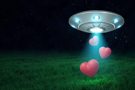 3d rendering of UFO in air at night with three cute red hearts falling down from its open hatch onto green lawn. Imagens - 124895845