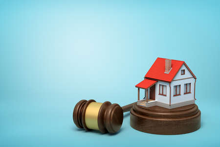 3d rendering of small white house with red roof on round wooden block and brown wooden gavel on blue background