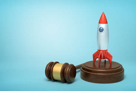 3d rendering of silver red space rocket on round wooden block and brown wooden gavel on blue background