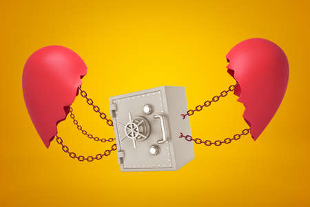 3d rendering of metal bank safe chained between two broken red heart pieces on yellow background Reklamní fotografie - 124895912