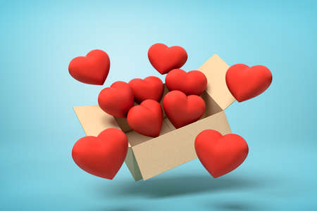 3d rendering of cardboard box in air full of cute red hearts which are flying out and floating outside on blue background. Banco de Imagens