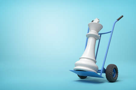 3d close-up rendering of white chess king on blue hand truck on light-blue background.