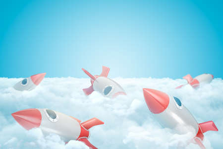 3d rendering of set of gray and red toy space rockets on layer of thick white fluffy clouds under blue sky.
