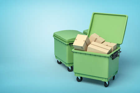 3d rendering of green trash bins with cardboard boxes inside on blue background Imagens
