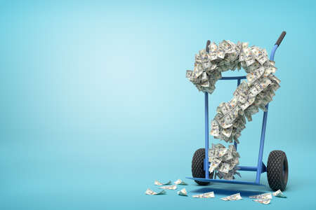 3d rendering of hand truck standing in half-turn with question mark made up of dollar banknotes on it on light-blue background with copy space. Reklamní fotografie - 124895953