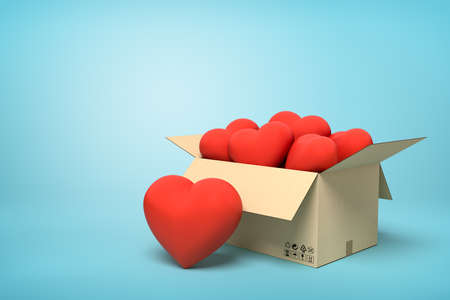 3d rendering of cardboard box full of cute red hearts on blue background.