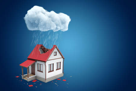3d rendering of little detached house with big hole in roof, standing under rainy cloud, on blue background with copy space.