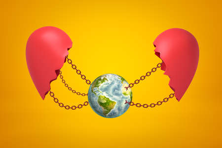 3d rendering of earth globe chained between two red broken heart pieces on yellow background. Ecology and environment