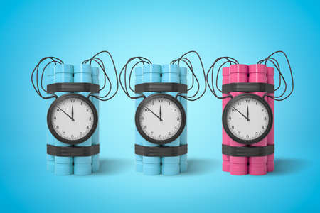 3d rendering of two blue and one pink dynamite time bombs on blue background Reklamní fotografie - 124896001