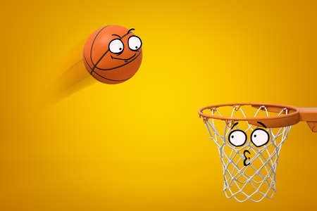 3d rendering of cartoon smiley face basketball ball flying into cartoon face hoop on yellow background Stock Photo