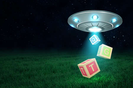 3d rendering of UFO in air at night with three ABC blocks falling out from its open hatch onto green grass.
