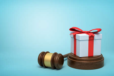 3d rendering of white gift box with red ribbon on round wooden block and brown wooden gavel on blue background