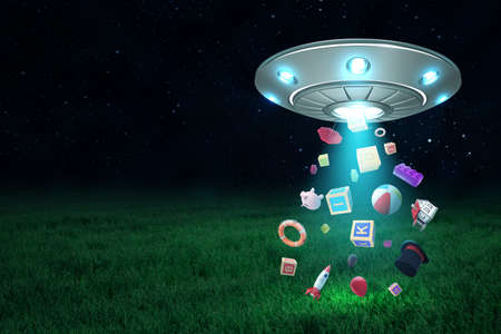 3d rendering of UFO in air at night with miscellaneous objects falling down onto green lawn from its open hatch. Stock Photo