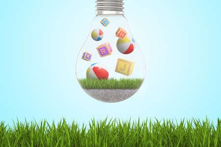 3d rendering of alphabet toy blocks and balls inside of light bulb on green grass and blue sky background