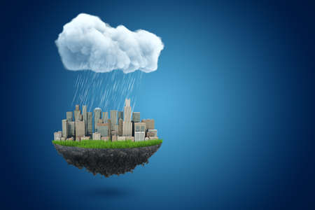 3d rendering of piece of land with modern city on it, suspended in air under big rainy cloud on blue background with copy space. Stok Fotoğraf