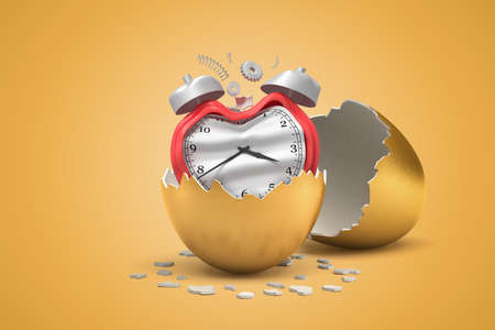 3d closeup rendering of broken and bent red alarm clock that just hatched out from golden egg.