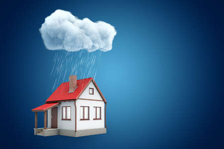 3d rendering of little detached house standing under rainy cloud, on blue background with copy space.