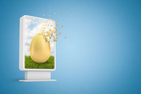 3d rendering of digital infodisplay with golden egg dissolving in particles on screen on blue background with copy space.