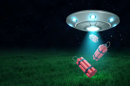 3d rendering of UFO under night sky dropping three dynamite bundles from its open hatch down onto green field.