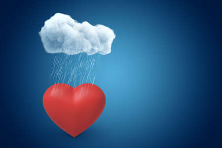 3d rendering of red valentine heart under raining cloud on blue gradient background with copy space. Reklamní fotografie