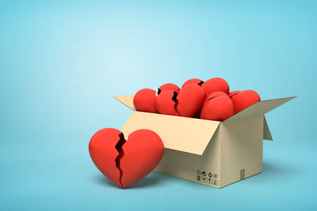 3d rendering of cardboard box full of red broken hearts on blue background. Stock Photo