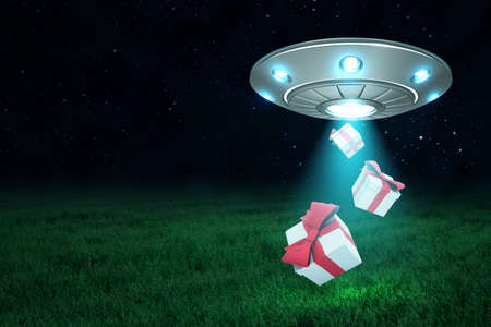 3d rendering of silver metal UFO with two gift boxes on dark night sky and green grass background