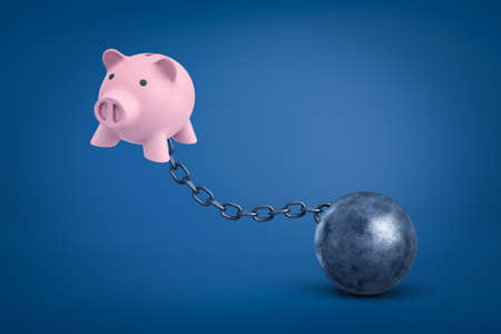 3d rendering of pink piggy bank chained to metal ball on blue background.