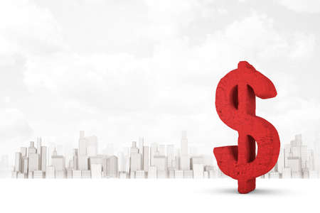 3d rendering of big red dollar sign on white city skyscrapers background Banco de Imagens - 124896231
