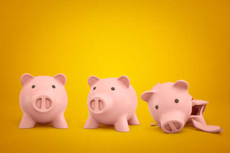 3d rendering of two ceramic piggy banks with one broken into pieces on yellow background Imagens