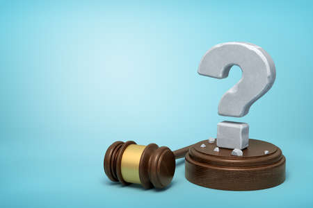 3d rendering of hefty stone question mark standing on sounding block with gavel beside on light-blue background with copy space.