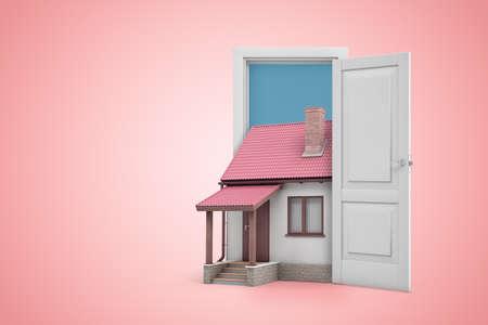 3d rendering of open door on pink gradient background and little detached house standing in doorway. Stock Photo