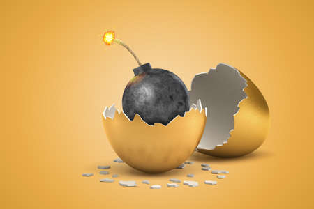 3d rendering of black round bomb with burning fuse that just hatched out from golden egg.