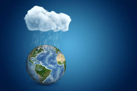 3d rendering of planet Earth under big raining cloud on blue background with copy space.