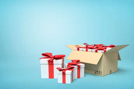3d rendering of gift boxes in carton box on blue background. Stock Photo