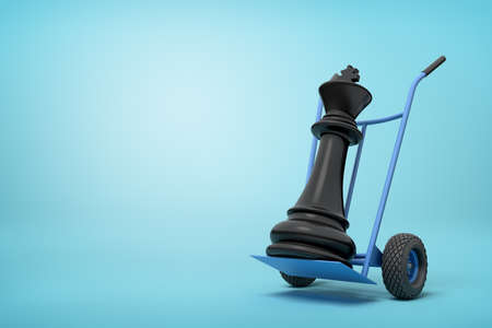 3d close-up rendering of black chess king on blue hand truck on light-blue background.