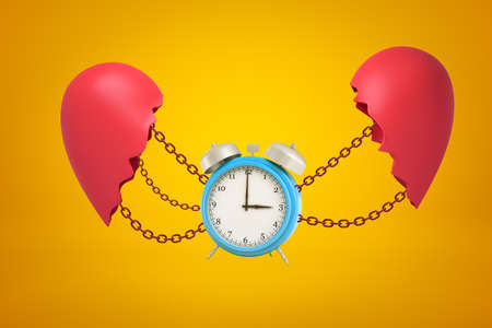 3d rendering of blue alarm clock chained between two broken red heart pieces on yellow background. Stock Photo