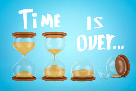 3d rendering of three hourglasses, one of them broken, with title Time is over on light blue gradient background.