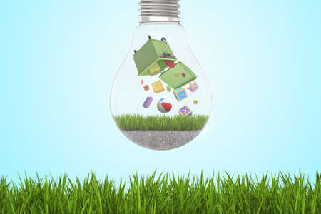 3d rendering of alphabet toy blocks and balls falling out of green trash bin inside of light bulb on green grass and blue sky background
