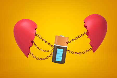 3d closeup rendering of electric battery suspended on chains between two parts of broken heart on amber background.