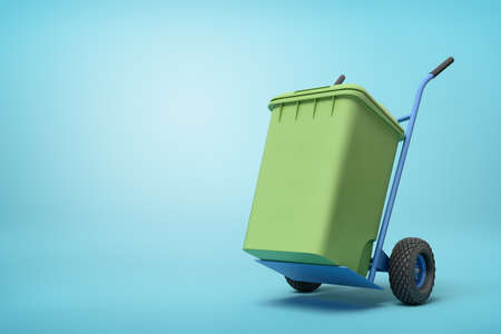 3d rendering of green trash can on blue hand truck which is standing in half-turn on light-blue background with copy space.