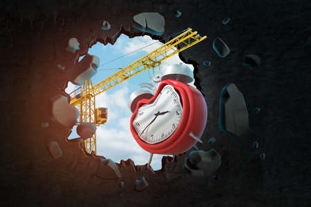 3d rendering of hoisting crane carrying broken alarm clock and breaking black wall leaving hole in it with blue sky seen through hole. Banco de Imagens - 124896327