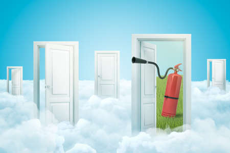 3d rendering of set of doorways standing on white fluffy clouds, one door leading to green field with red fire-extinguisher on it. Banque d'images - 124897412