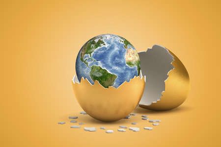 3d rendering of planet Earth that just hatched out from golden egg. Reklamní fotografie