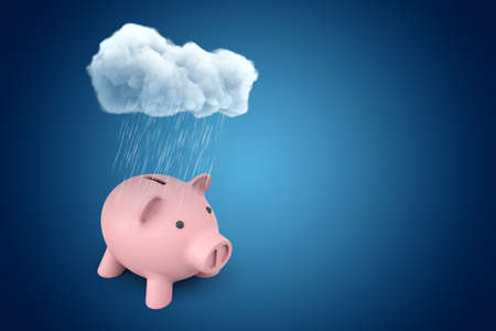 3d rendering of white rainy cloud above pink piggy bank on blue background