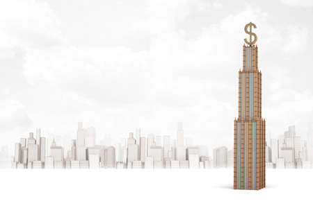 3d rendering of golden business skyscraper with dollar sign on white background Stok Fotoğraf